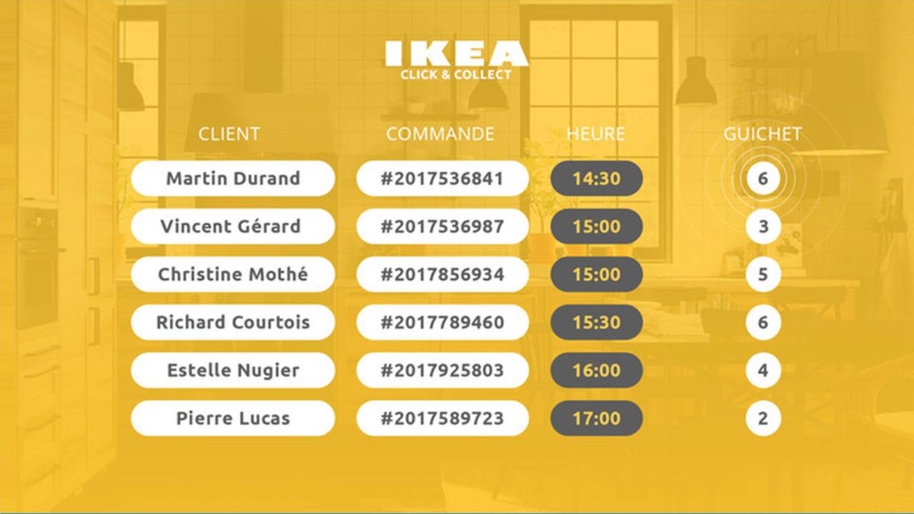 Interface d'affichage dynamique avec compteur clic and collect pour un magasin de meubles
