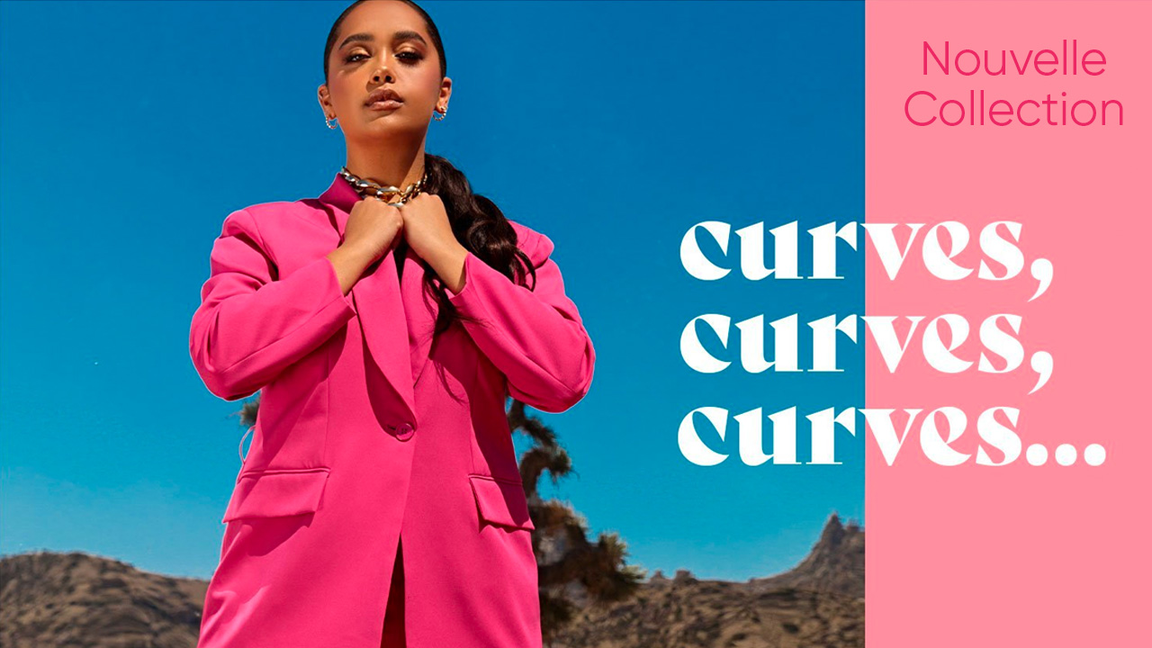 Interface d'affichage dynamique avec visuel de nouvelle collection pour un magasin de vêtement
