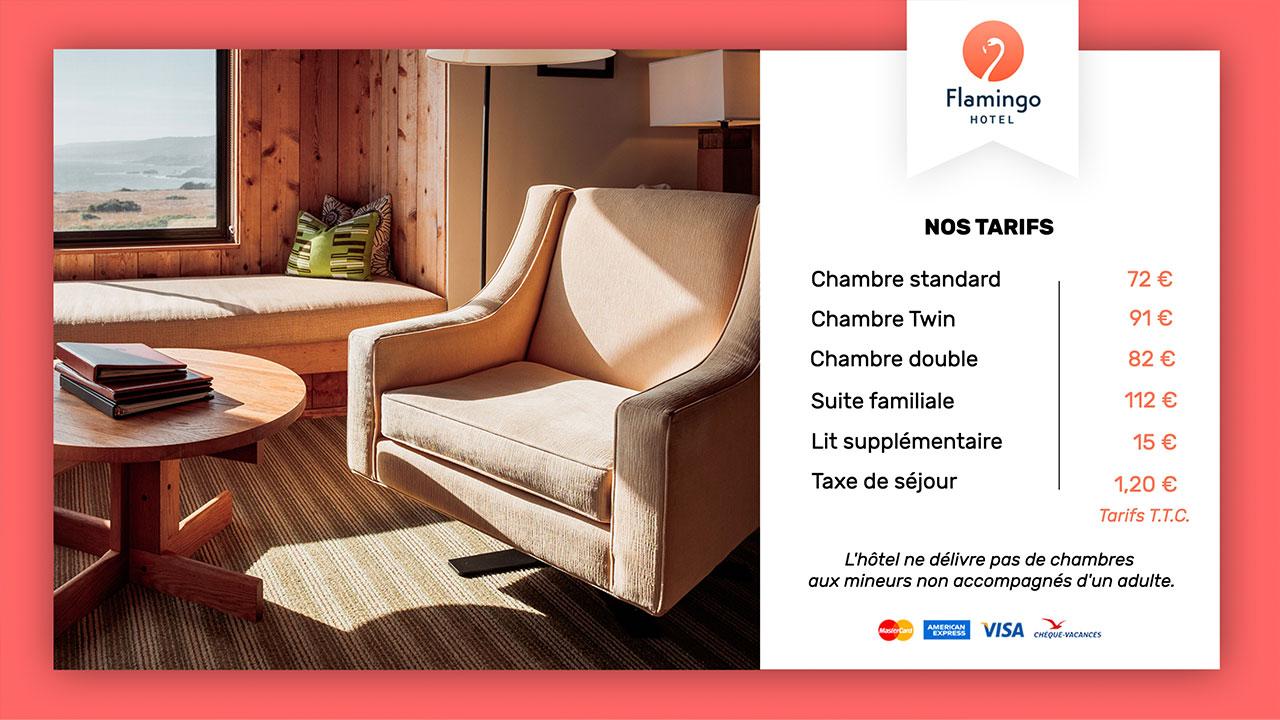Interface d'affichage dynamique hotel tarifs des chambres