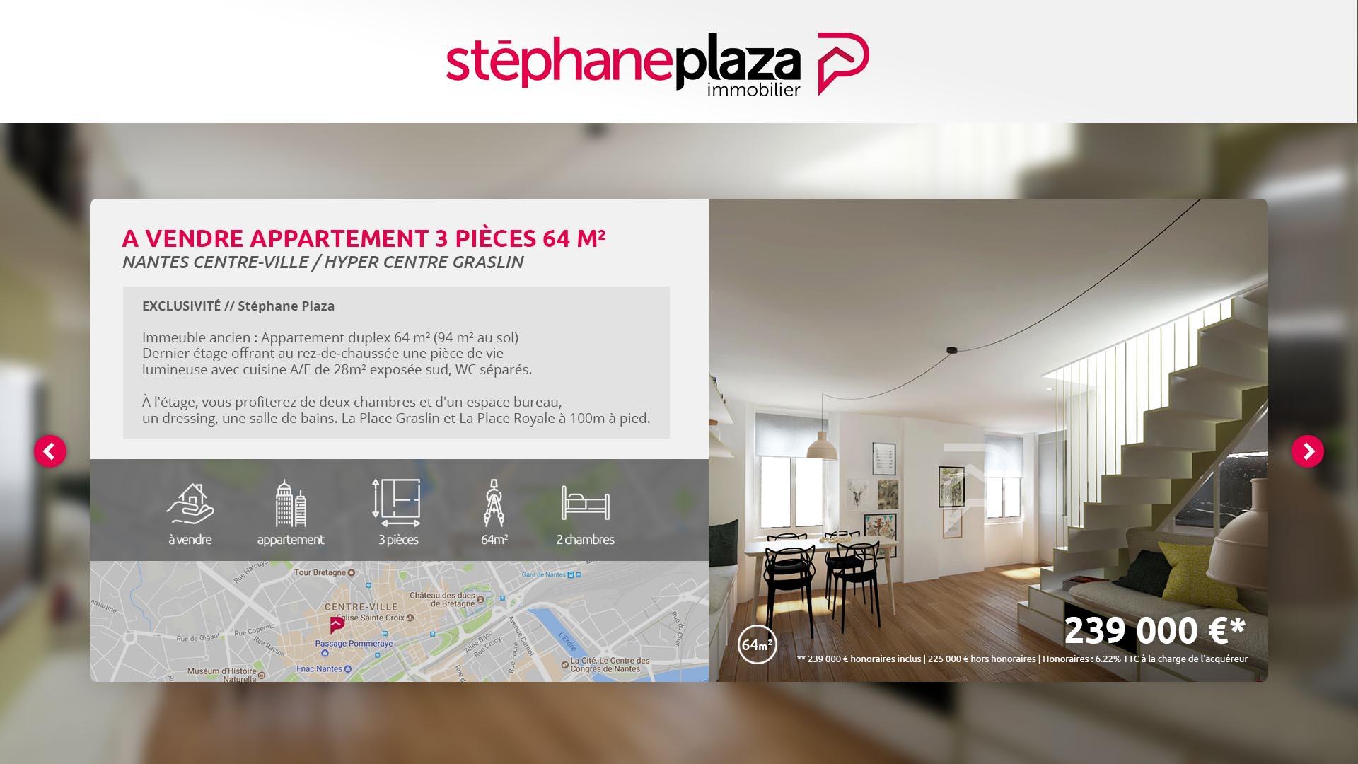 Interface d'affichage dynamique pour présenter les biens immobiliers d'une agence