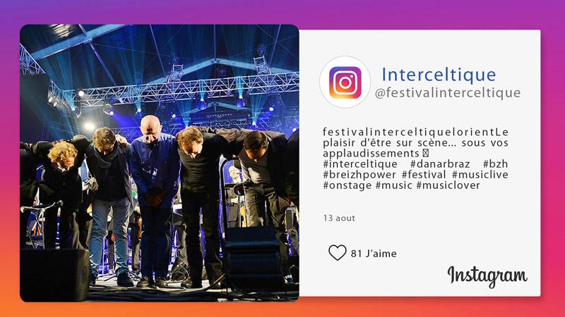 Interface d'affichage dynamique avec réseaux sociaux instagram d'un festival de musique
