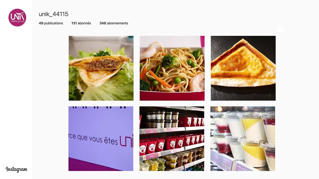 Interface d'affichage dynamique avec réseaux sociaux instagram d'un restaurant