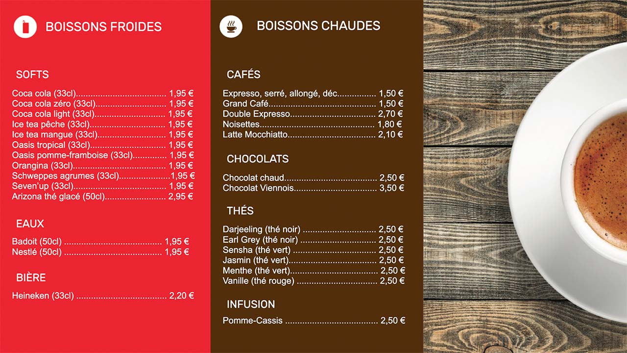 Interface d'affichage dynamique restaurant carte boissons