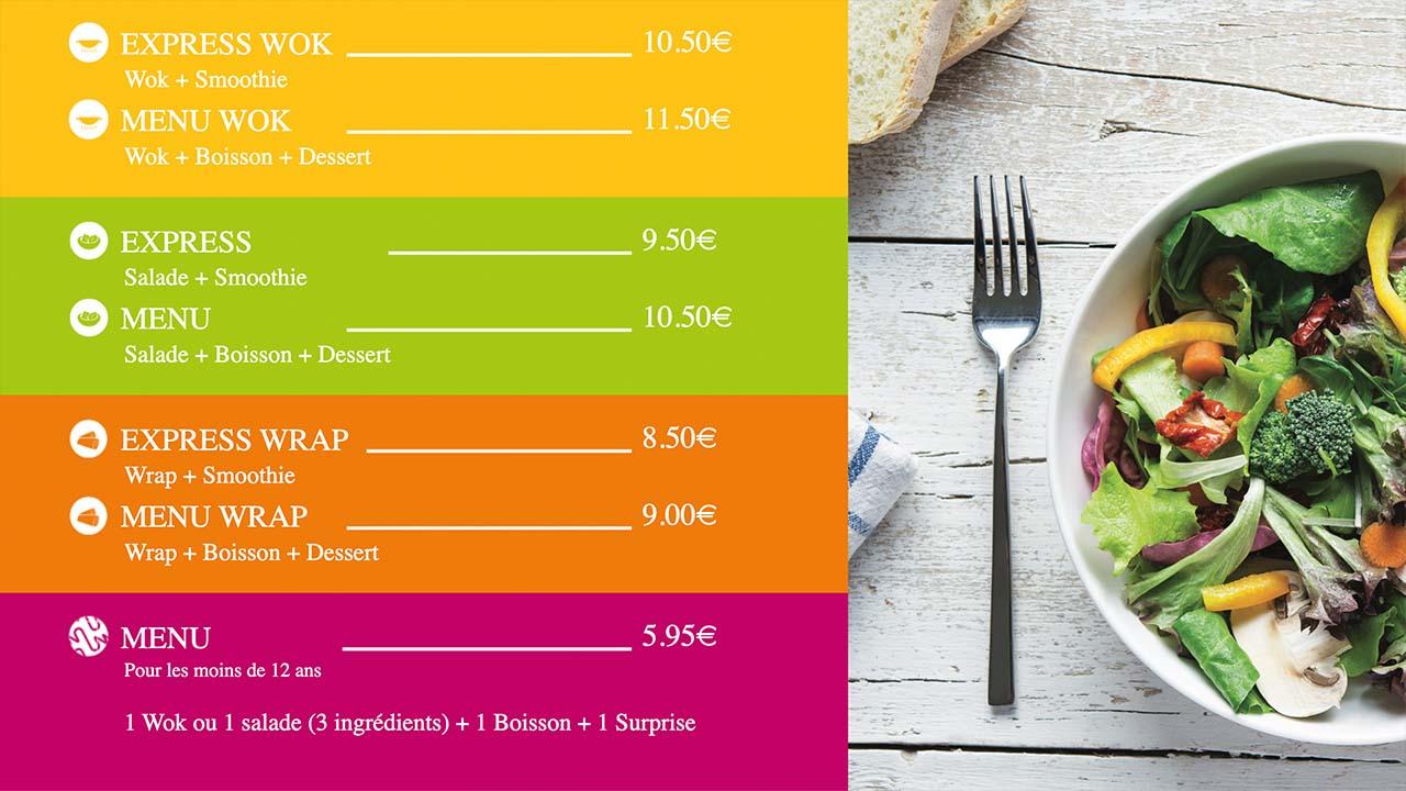 Interface d'affichage dynamique menuboard digital dans un restaurant