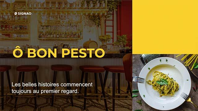 Interface d'affichage dynamique restaurant message accueil client