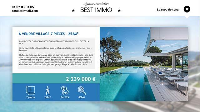 Interface d'affichage dynamique immobilier annonce maison à vendre
