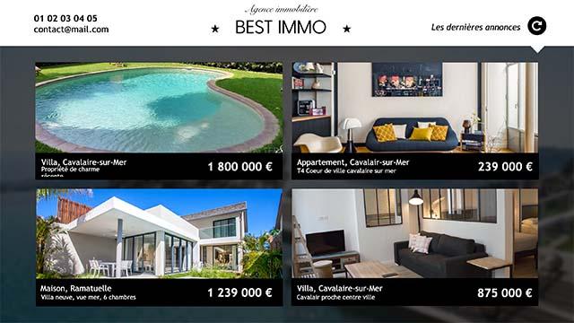 Interface d'affichage dynamique immobilier affichettes annonces maisons