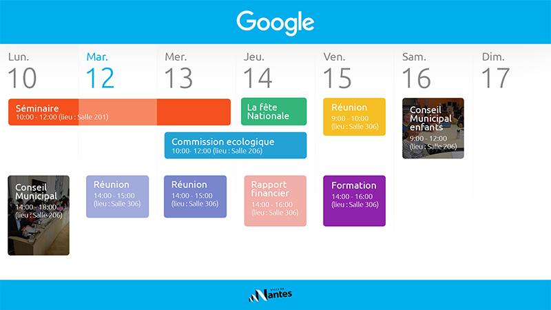 Interface d'affichage dynamique avec agenda des événements de la mairie