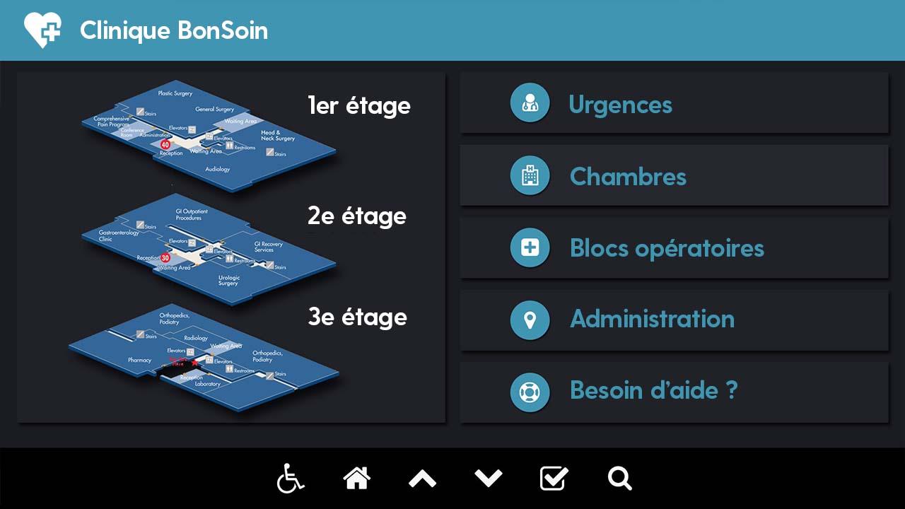 Interface d'affichage dynamique santé plan interactif 3D hôpital
