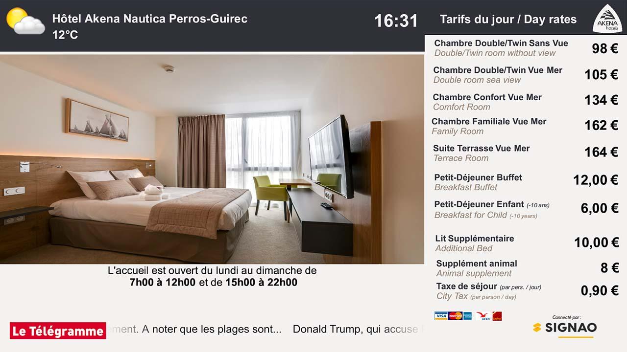 Interface d'affichage dynamique avec les tarifs des chambres d'un hôtel