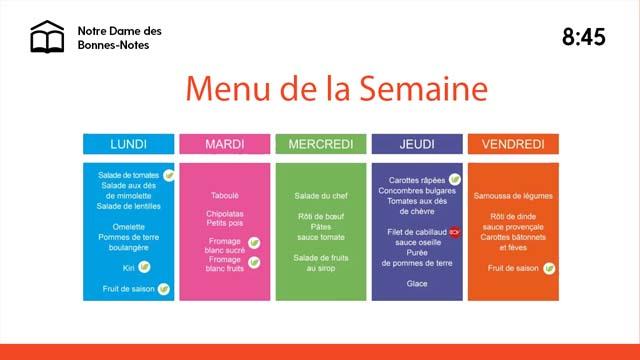 Interface d'affichage dynamique education menu de la semaine