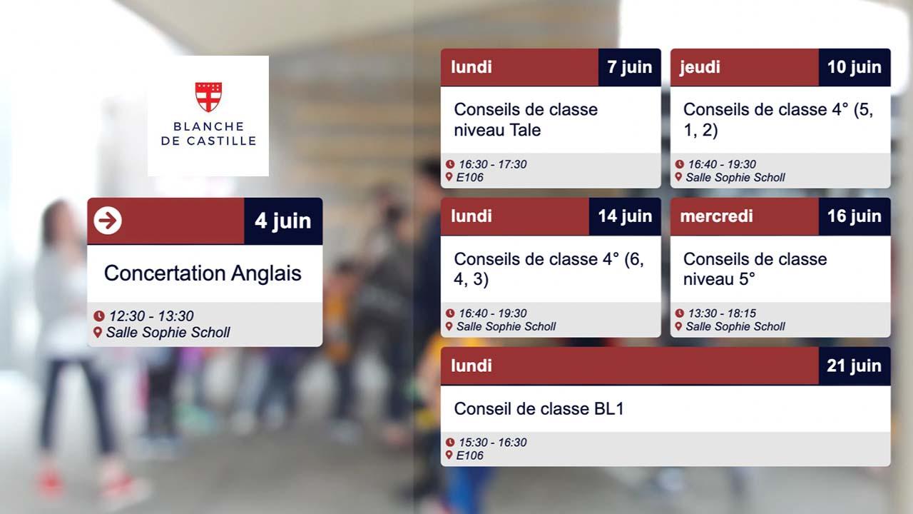 Interface d'affichage dynamique avec planning des événements de l'école