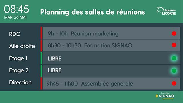 Interface d'affichage dynamique calendrier des salles de réunion