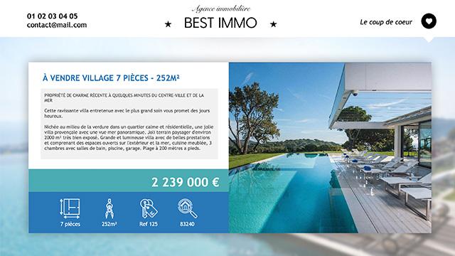 Interface d'affichage dynamique pour les annonces immobilières d'une agence