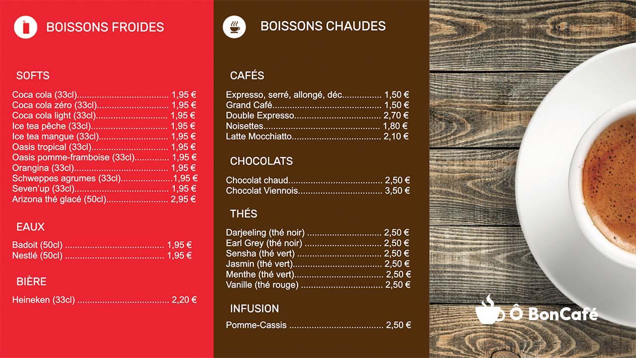Menuboard d'affichage dynamique avec cartes des boissons pour les cafés et restaurants