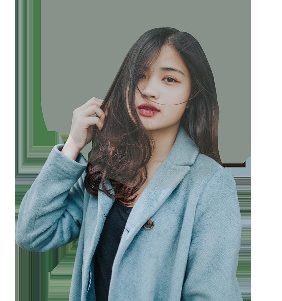 asian girl wearing a jean jacket