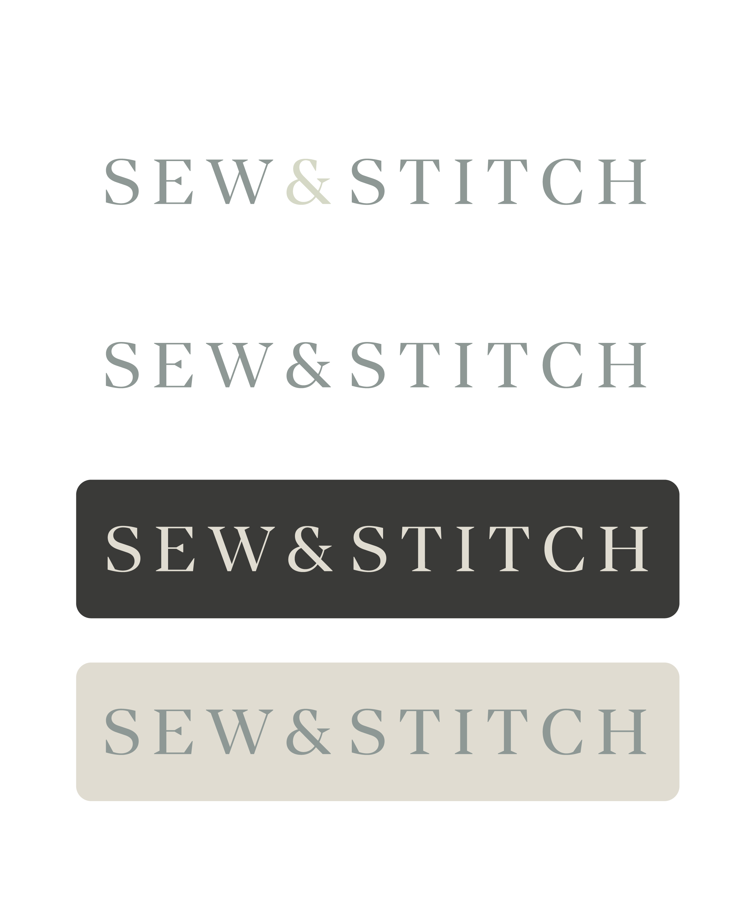 various styles of the sew & stitch logo