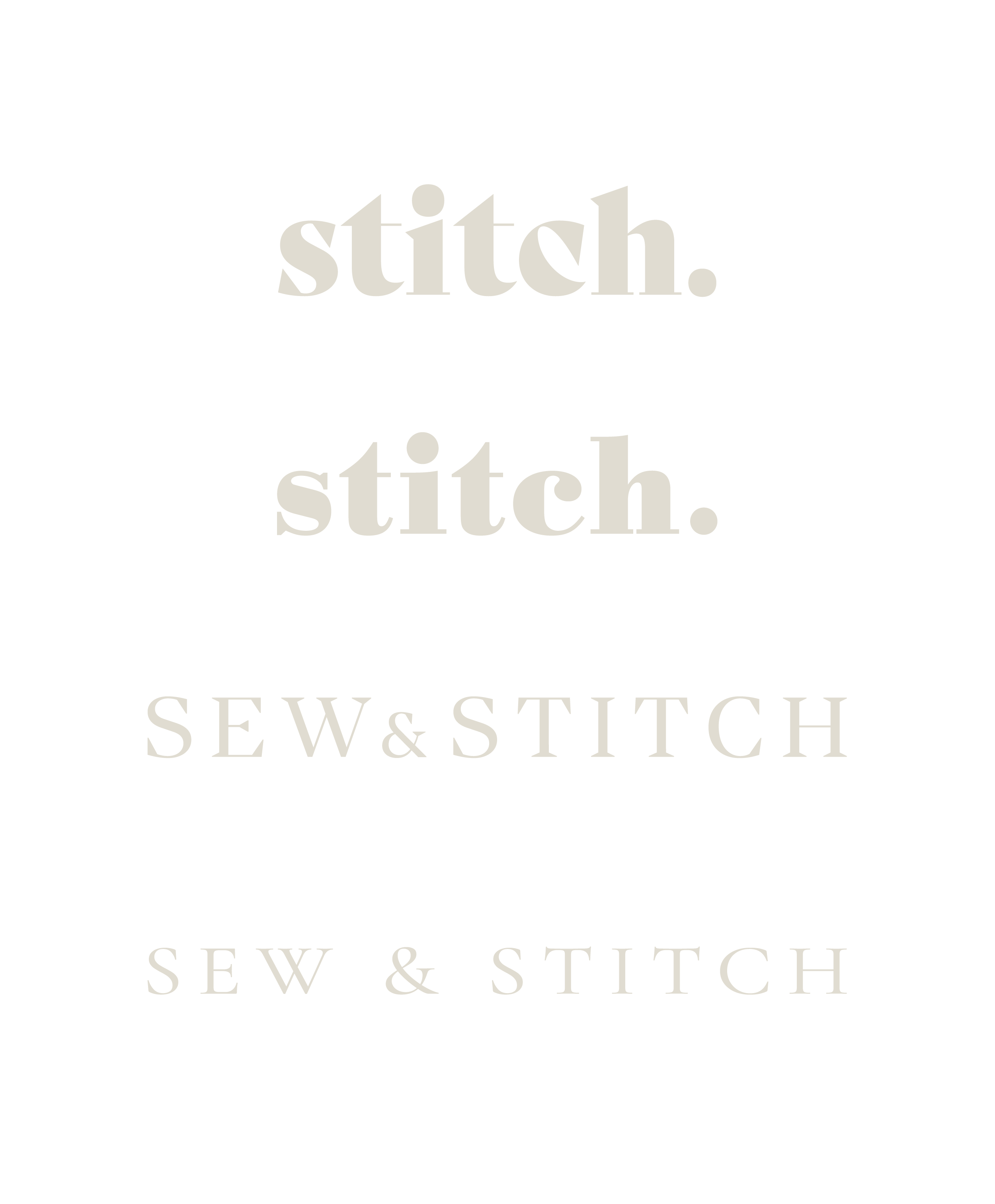 various iterations of the sew & stitch logo