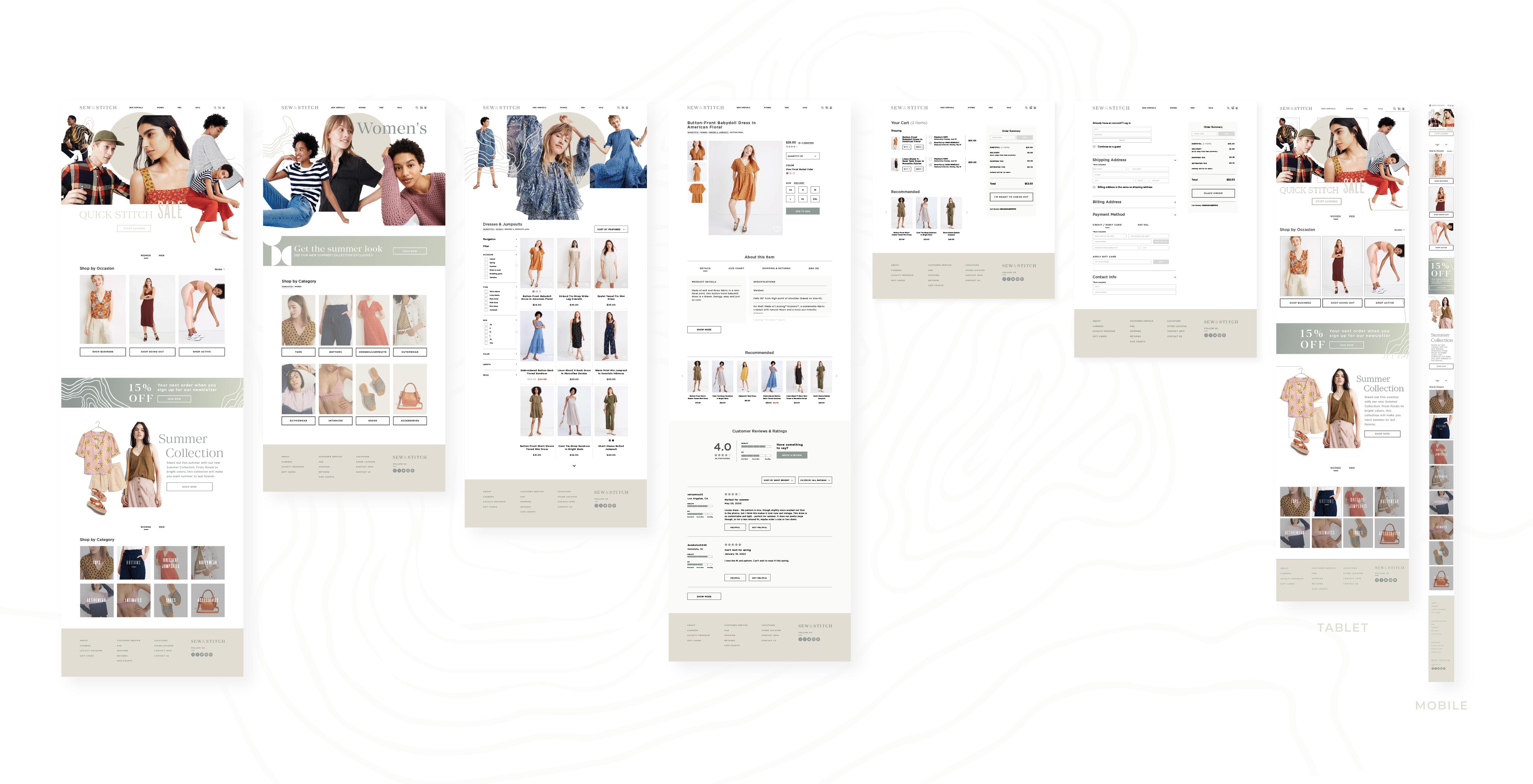 hi-fi wireframes for the sew & stitch website