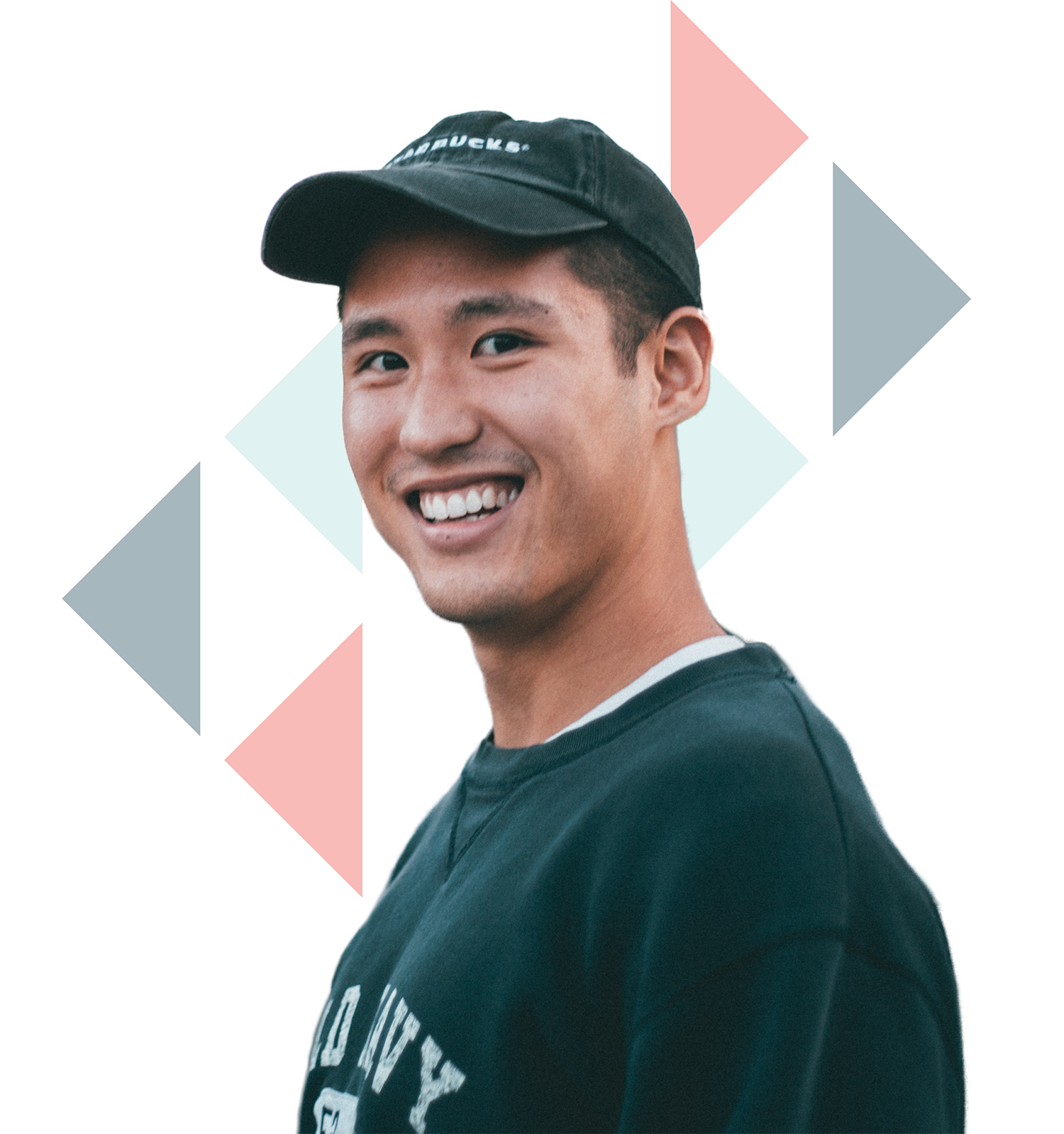 asian guy wearing a navy crew neck jacket and hat