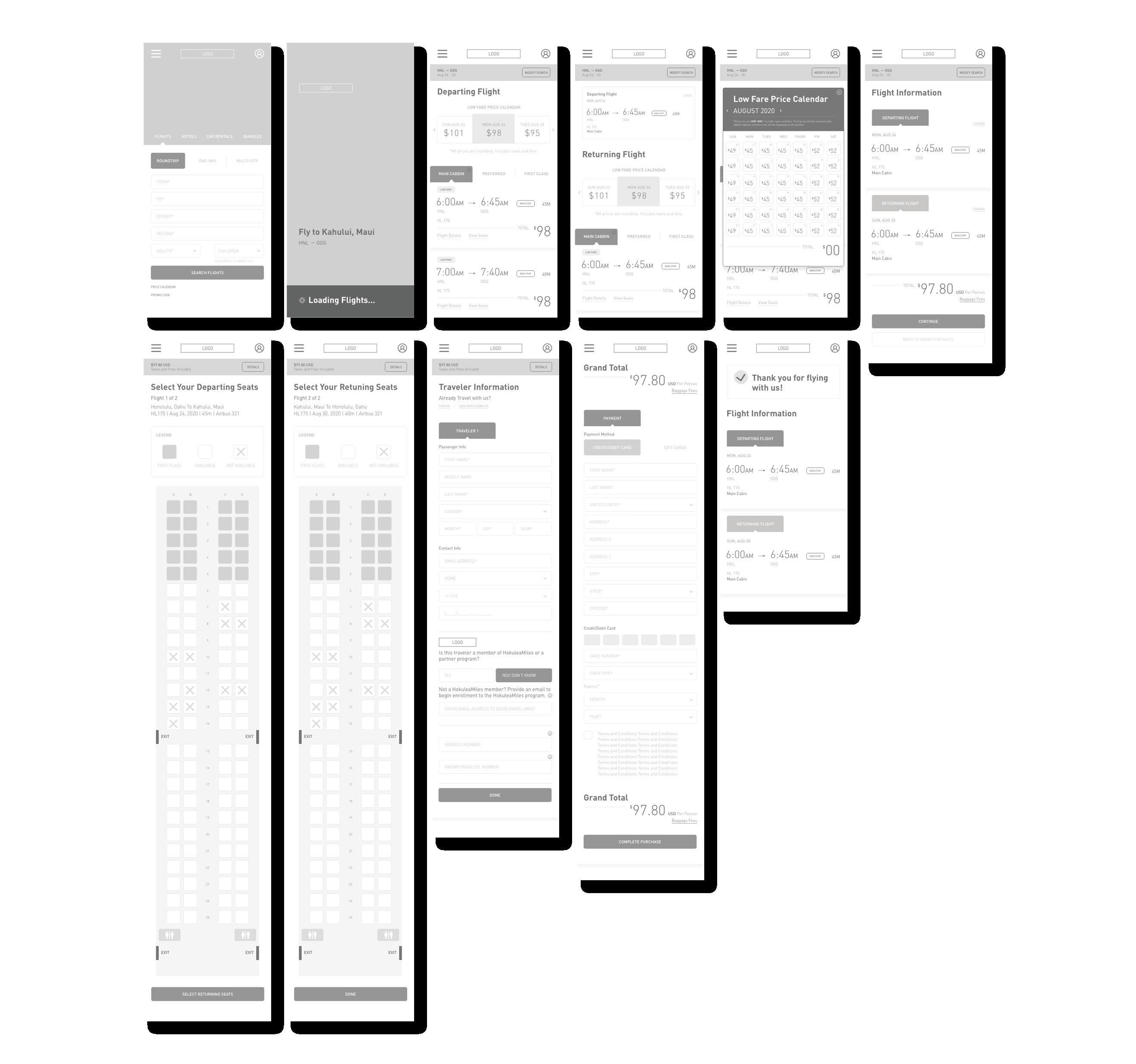 lofi wireframes of the hokulea website on mobile browser
