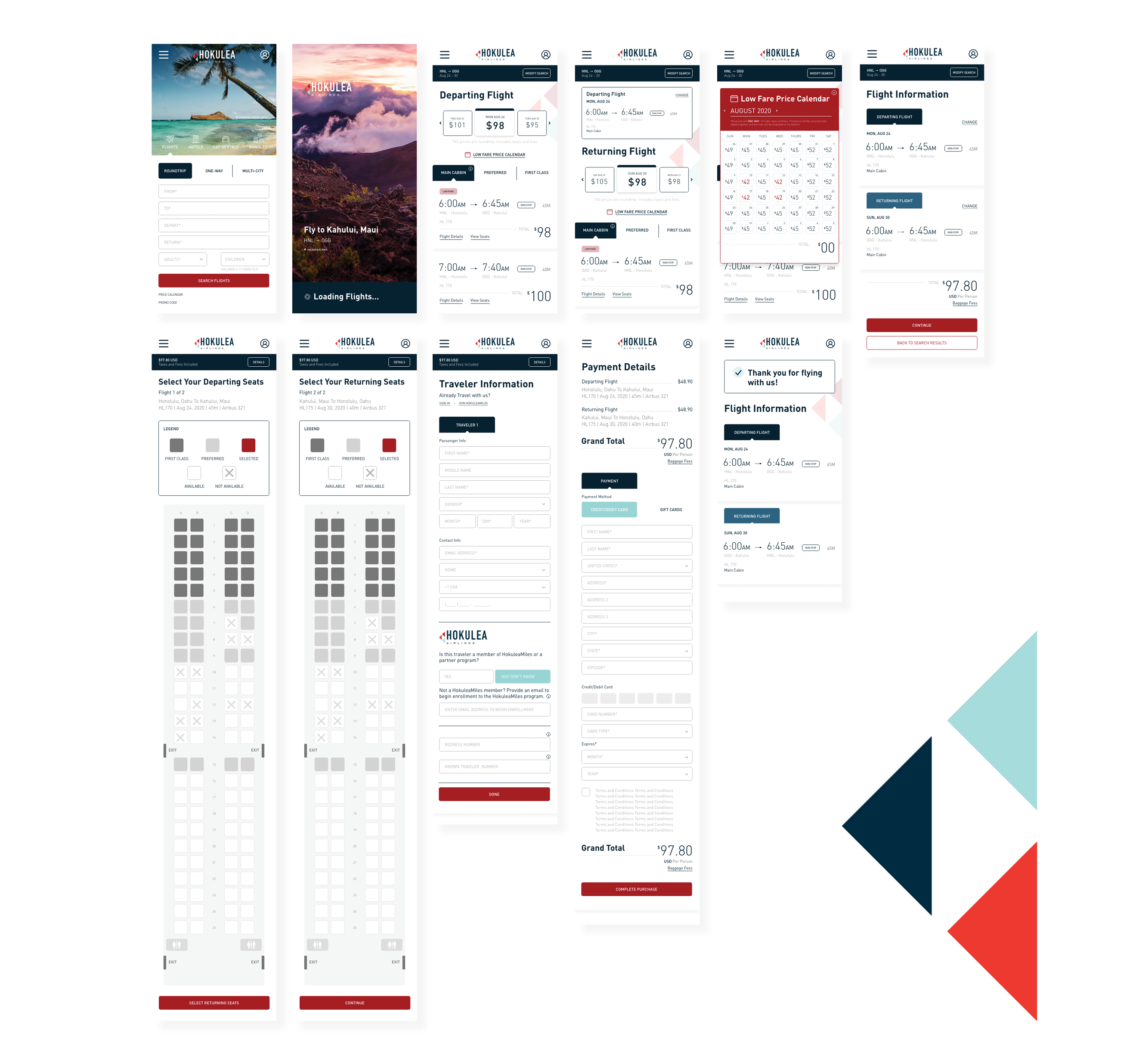 hifi wireframes of the hokulea website on mobile browser