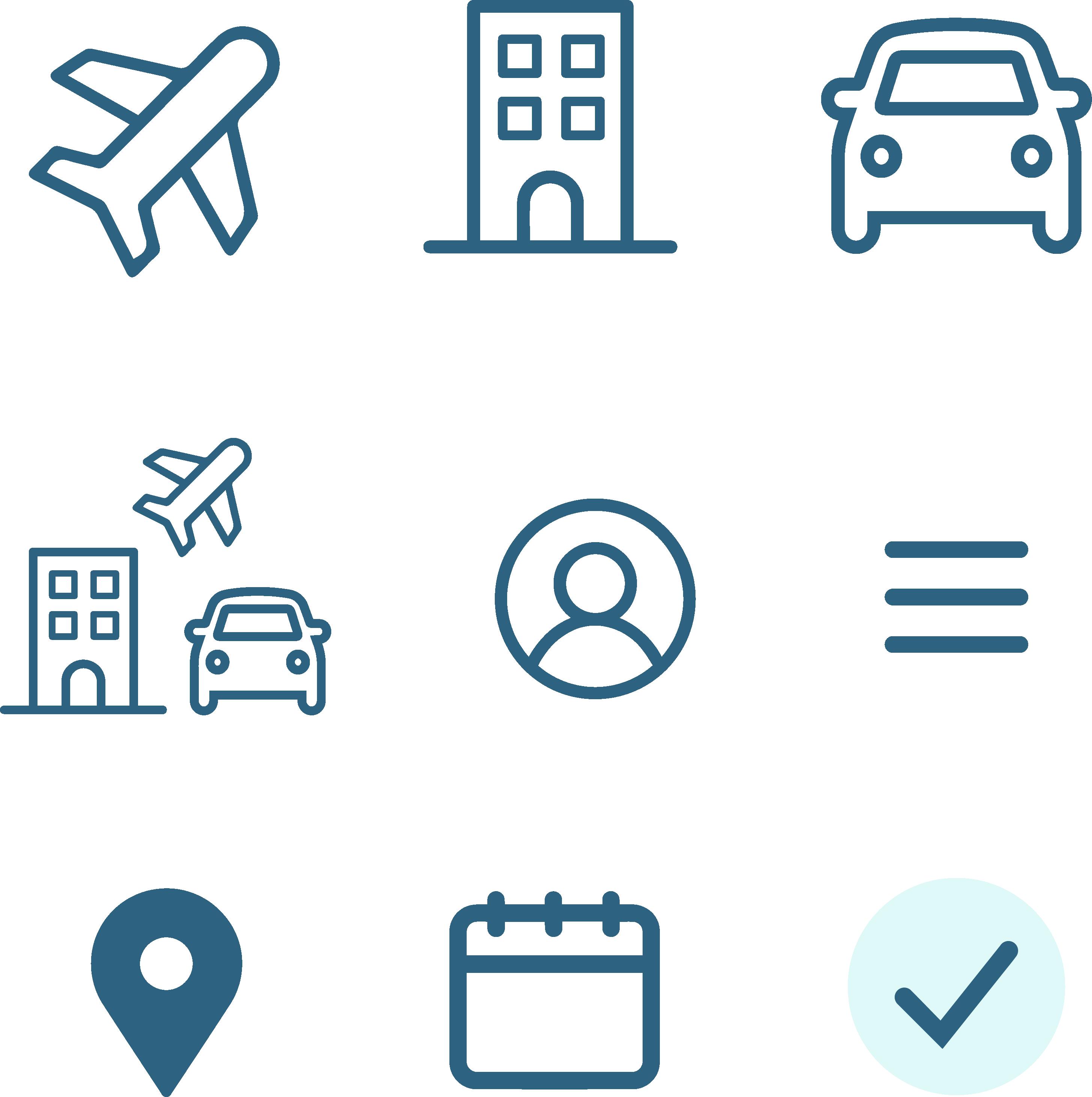 airport-hotel-car-account-hamburger menu-location pin-calendar-check mark icons
