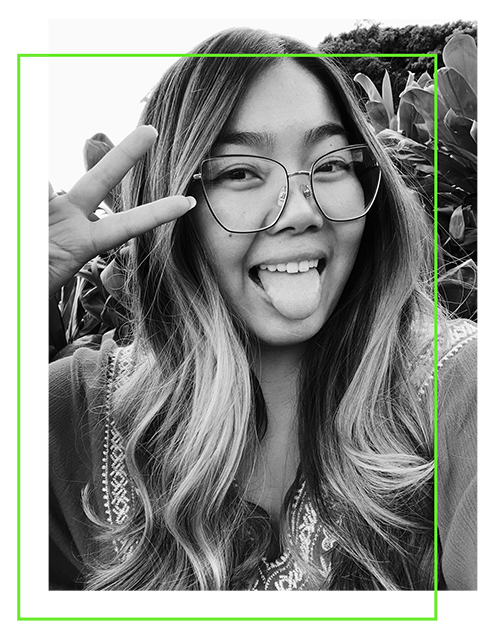 black and white photo of shelley with lime green offset border