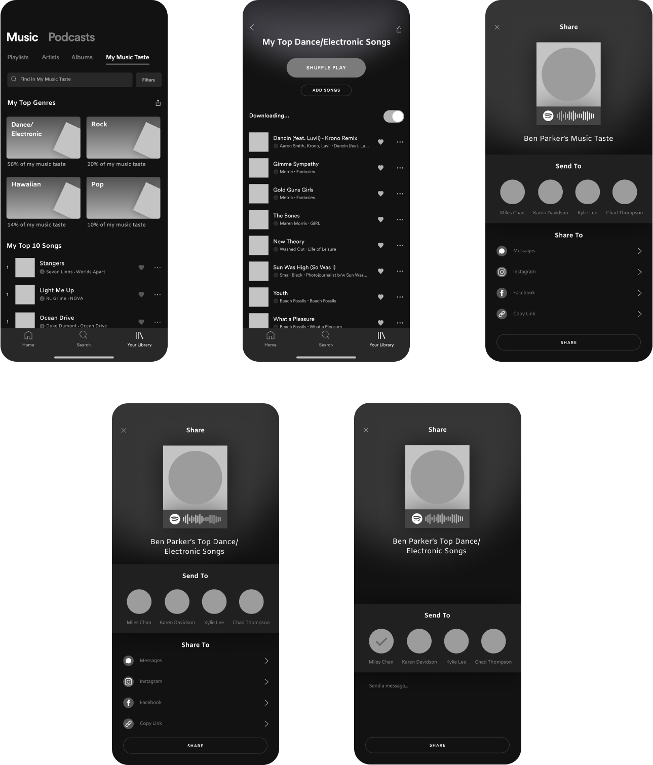 spotify new music feature lofi wireframes