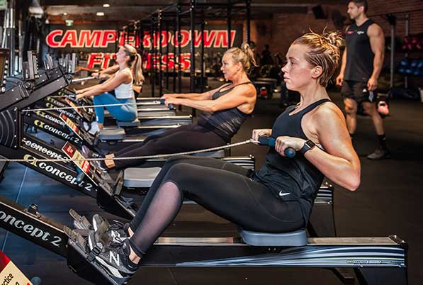 Women on rowing machines in Camperdown Fitness Cardio Circuit class