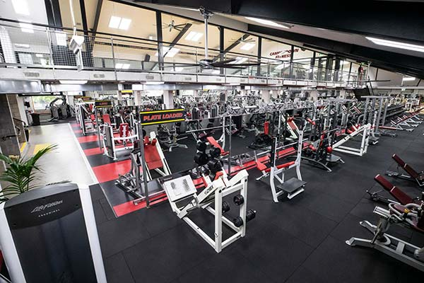 Rows of exercise machines at Camperdown Fitness main floor