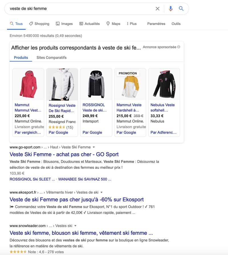 Exemple classement Google