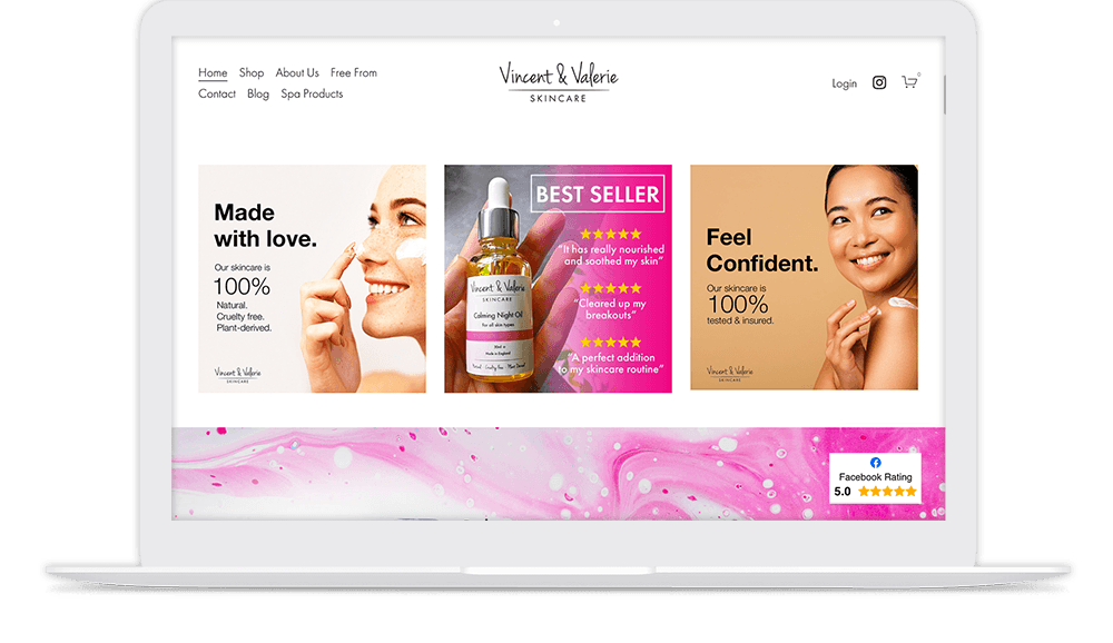 New website design shown on laptop for a skincare business.