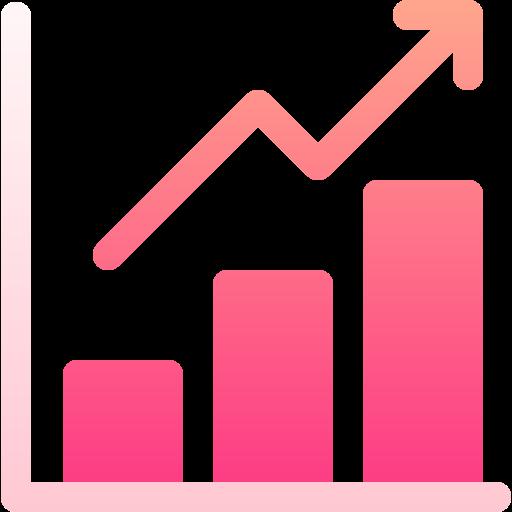 Rising arrow bar chart icon.