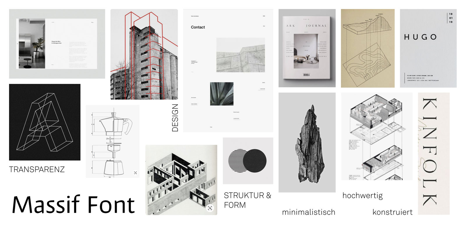 Mood board for the branding of an architecture studio by Alexandra Linortner