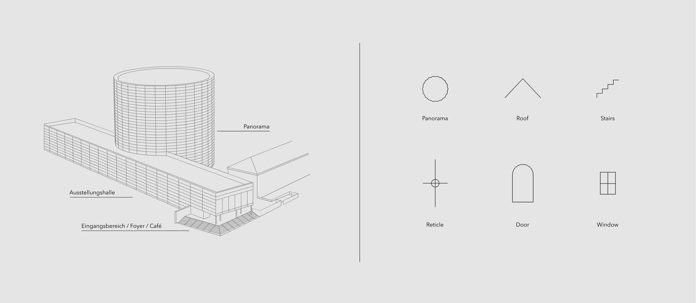 Minimalistic graphics for the website of an architecture studio designed by Alexandra Linortner