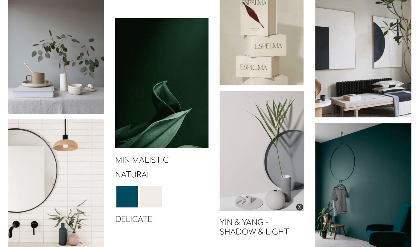Mood board showing a design direction for a yoga studio in Berlin by Alexandra Linortner