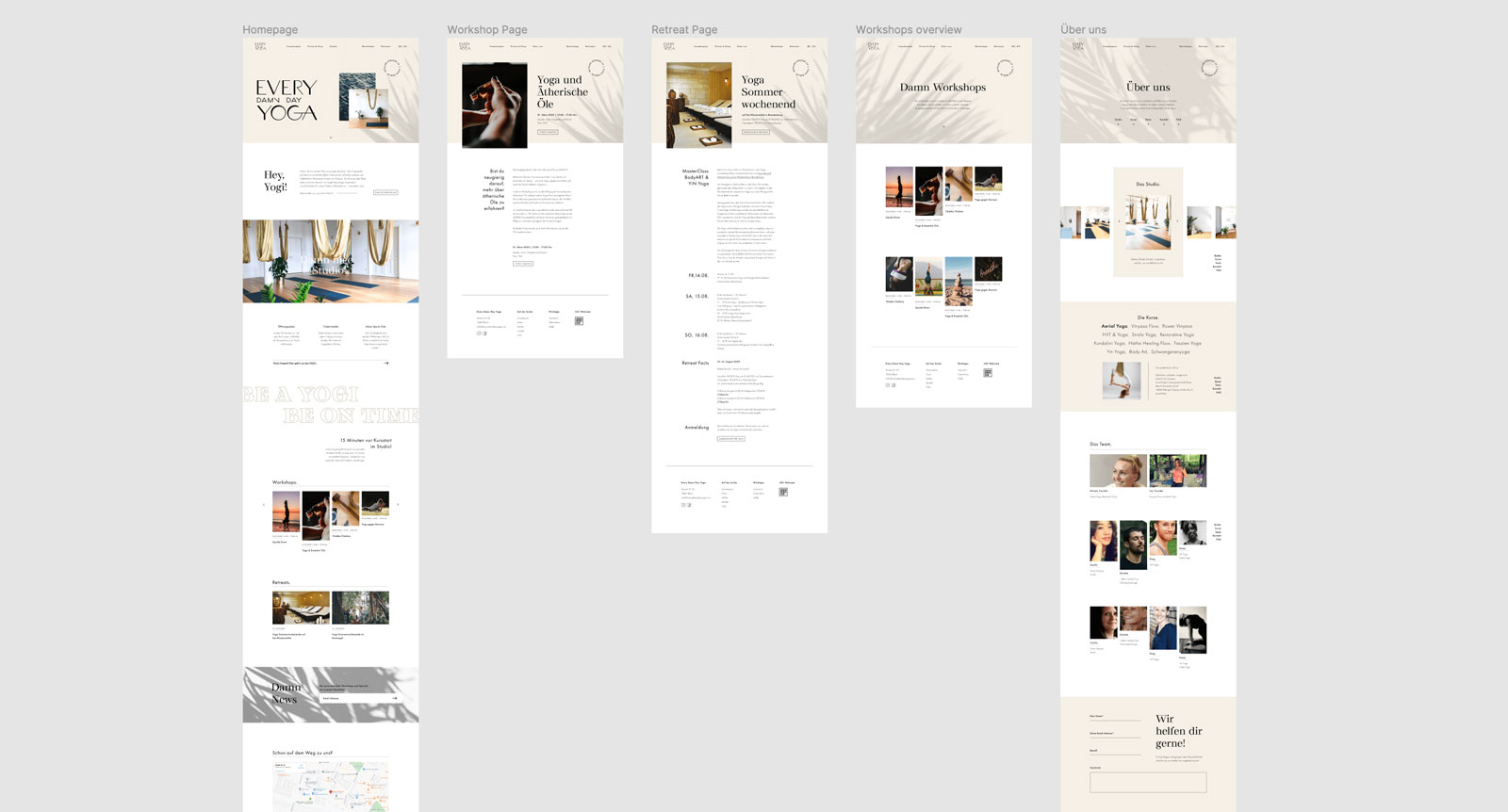 High-fi wireframes for the website design of a yoga studio in Berlin