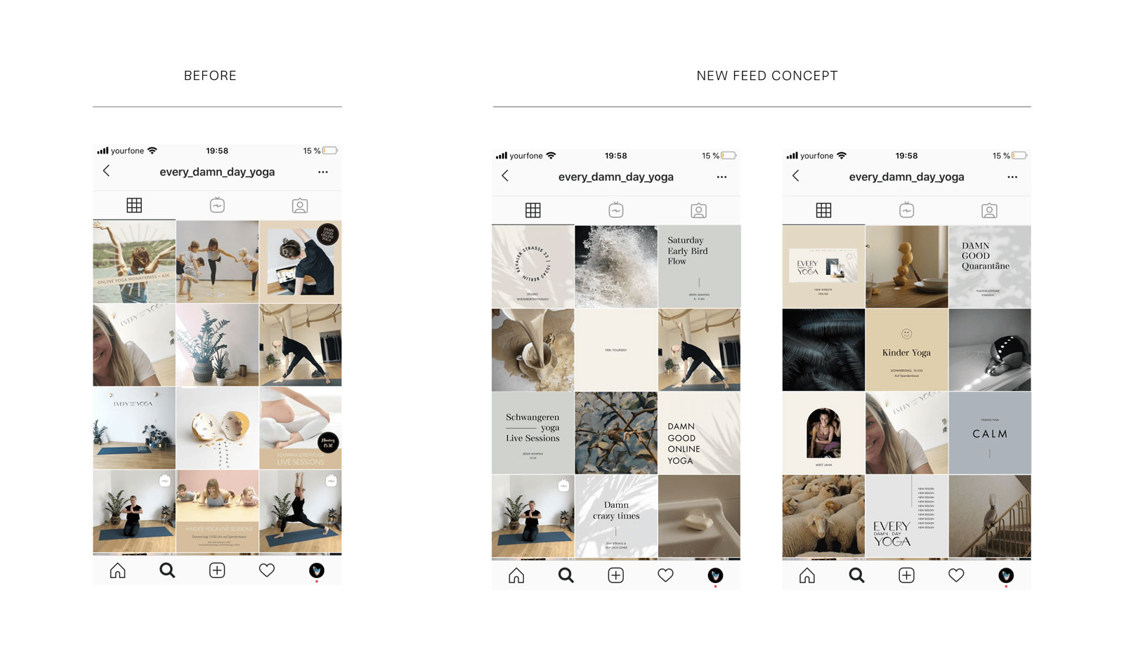 Instagram feed concept design for a yoga studio in Berlin