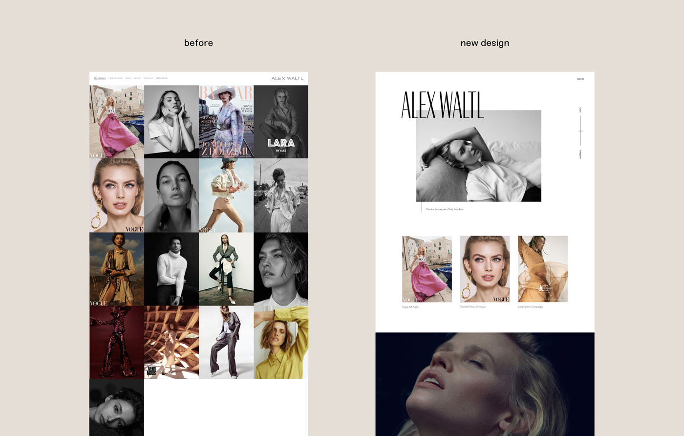 comparison of the old design and the redesign of a website for photographer Alex Waltl