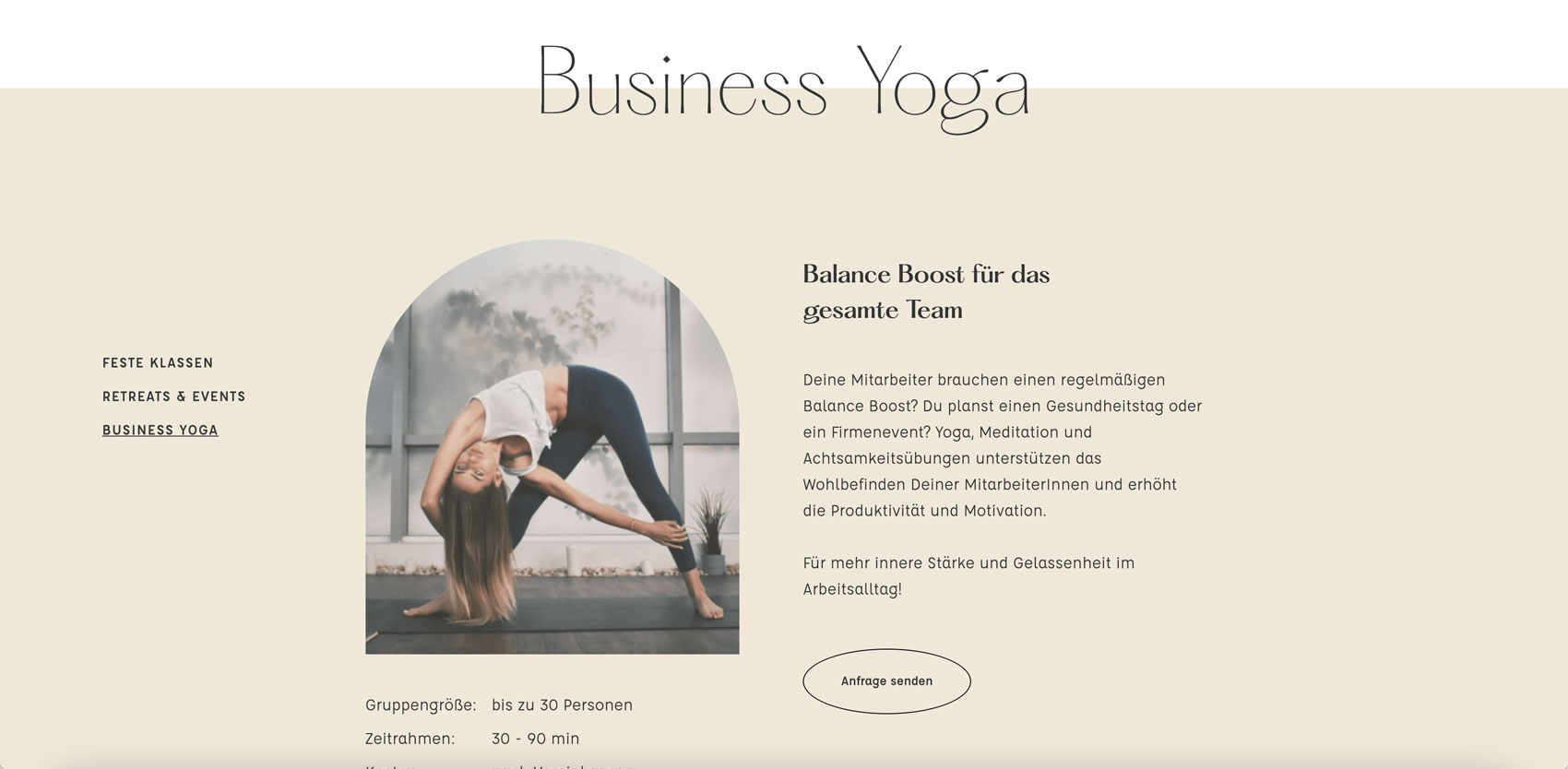 Website design by Alexandra Linortner for the lifestyle coach Miriam Zech and her brand Stay Balanced