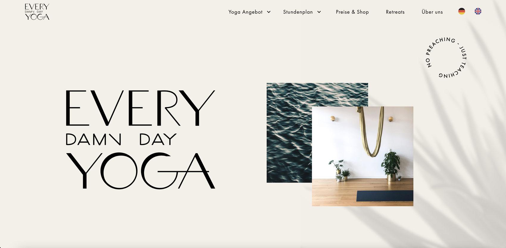 Website design by Alexandra Linortner for the yoga studio Every damn day Yoga in Berlin