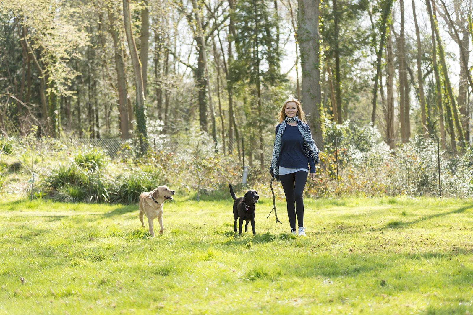 Elizabeth walking in the woods
