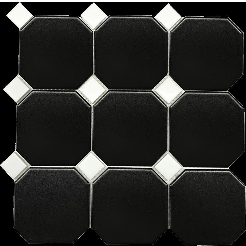 Black Hexagonal With White Insert Porcelain Mosaic