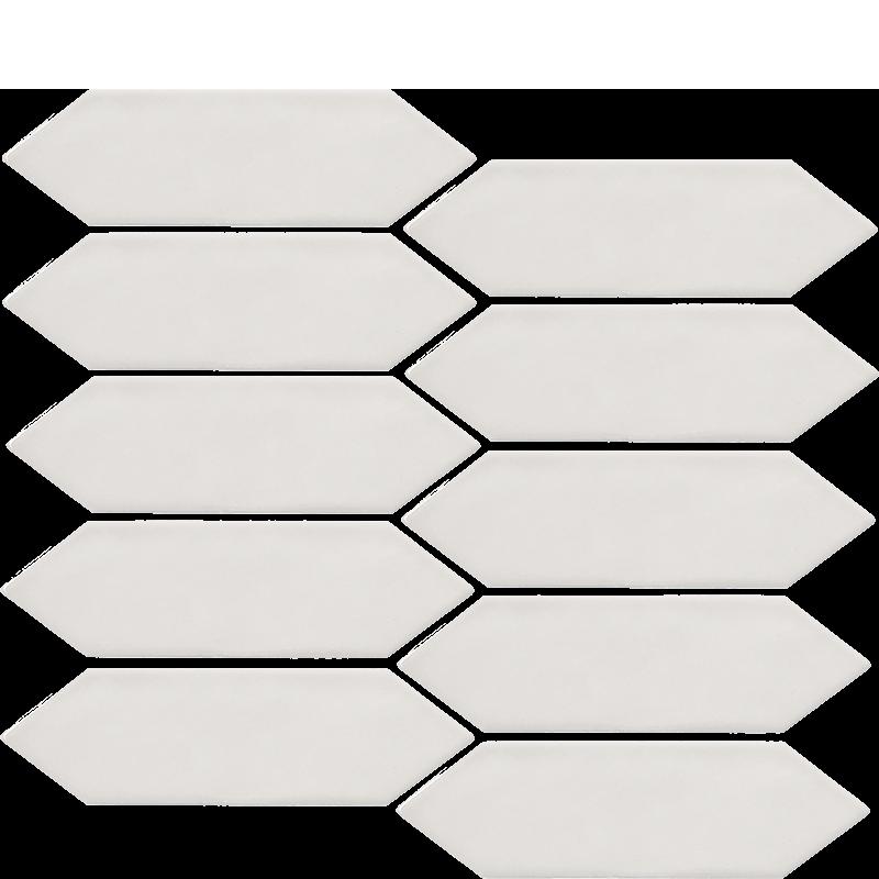 White Spearhead Porcelain Mosaic