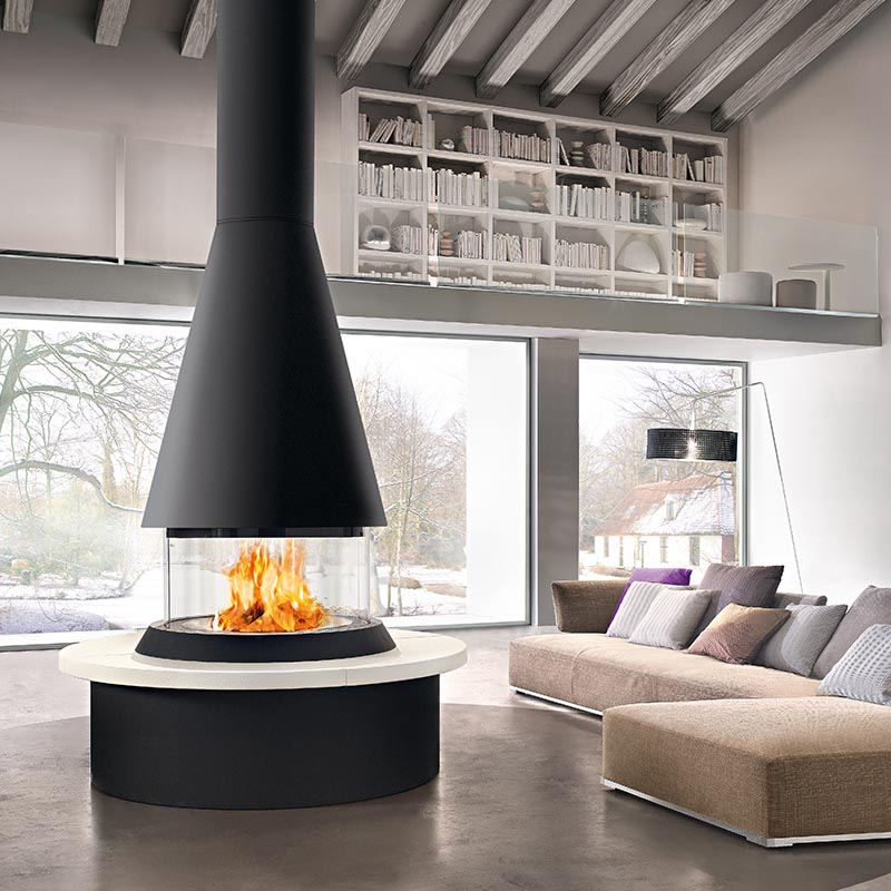 Panoramic Fireplace, Stucco Floor, White wash ceiling rafter.