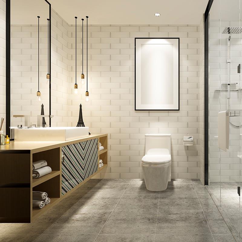 Beveled Subway Metro Tile, Stone Look Porcelain tiles, Floor Tile, Oak Vanity, Bathroom Cabinet, Walk-In Shower.