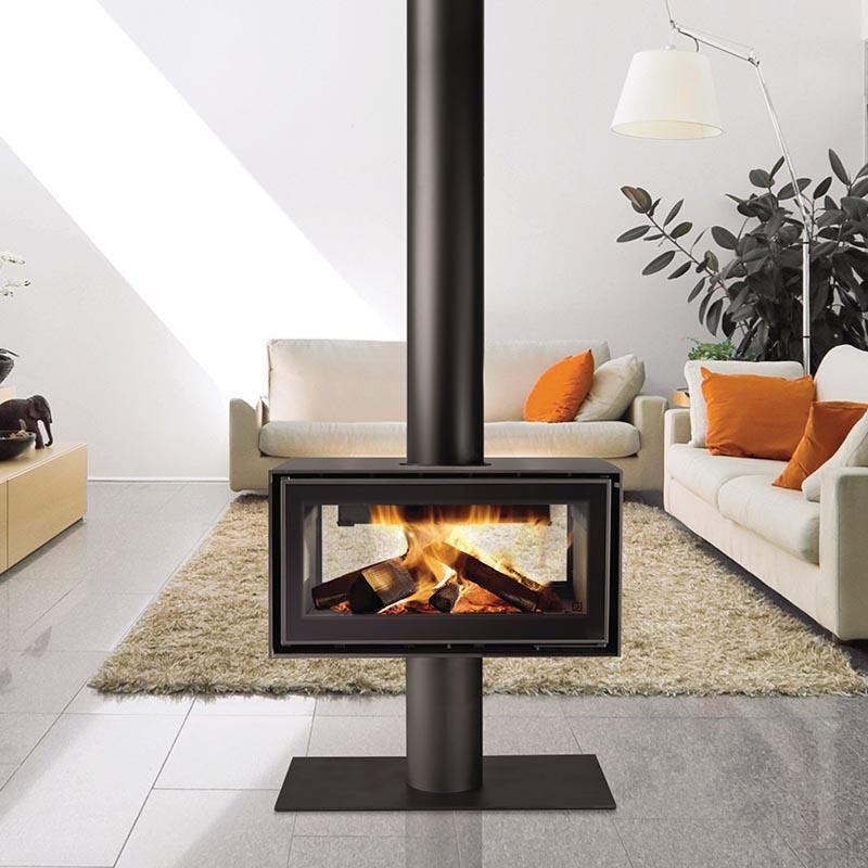 Double Sided Fireplace, Pedestal, Terrazzo Floor, Tiles, Wood Burner.