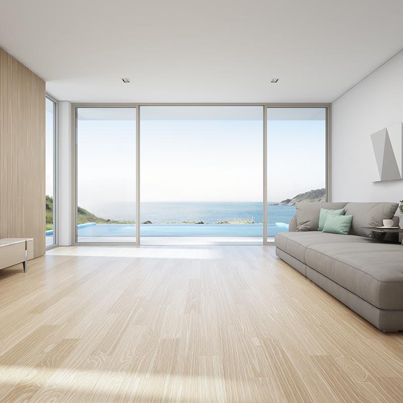 Large Glass Panels, Maple Wood, Luxury Vinyl Laminate, SPC Flooring, Pool Mosaics, Rim flow Pool.