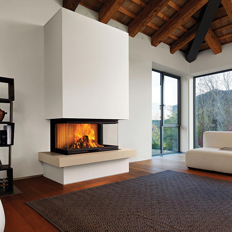 Build-In Fireplace, Three Sided Glass Fireplace, Bamboo Flooring, Exposed Roof Beams, Rugs, Carpet, Wood Flooring, Tri-vision.